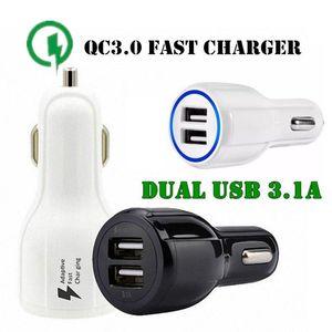 품질 관리 3 0.0 차량용 충전기 듀얼 USB 포트 3 .1A 빠른 충전 5V 9V 12V 퀄컴 적응 급속 충전 어댑터 삼성 S8 아이폰 7 8 X 화웨이