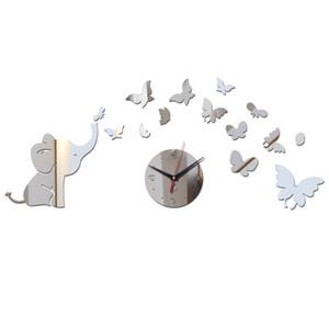 limited 3d wall clocks clock diy home decor single face mirror acrylic stickers sticker needle quartz