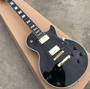 최고의 가격 최고 품질 블랙 색상 일렉트릭 기타 EBONY Fretboard의 골든 Hardware.one 조각 목과 몸 프렛 바인딩