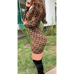 2020 causale maglietta vestito sexy delle donne di stampa manicotto lungo sottile aderente mini vestito da modo dei vestiti da partito