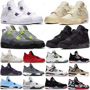 Новый парус 4 4s Ciment Ce Que ле Hommes Splatter Chat Noir Blanc Chaussures де баскетболе Travis Скоттс Кактус Джек гри нуар Hommes Femmes