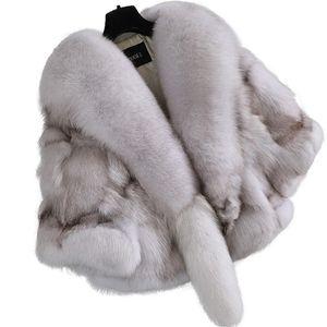Nuovo Inverno 100% reale Pelliccia genuina pelliccia naturale Breve Capo dello scialle del cappotto di lusso donne all'aperto