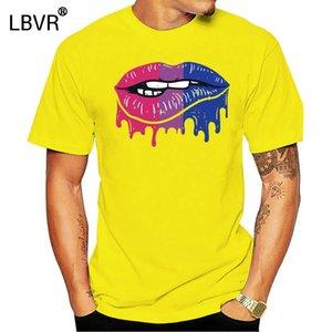 LIP Укус Retro Капельное Art LGBT Би цвета Gay Flag смешной черный T-Shirt S-6XL Printed Tee Shirt