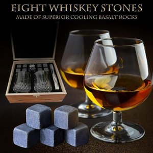 New Reusable Ice Cubes, 8 Ice Cubes And 2 Whiskey Glasses, Stainless Steel Clips And Wool Bags, Wooden Gift Box, Best Gift