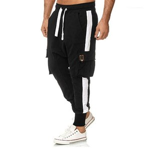 Overalls Casual Loose Mid Waist Pocket Feet Pants Male Fashion Style Pants Mens Color Matching