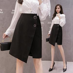 665sJ noire divisée robe d'automne irrégulière A LINE JUPE Pantalon de nouvelles femmes 2020 et un pantalon mi-longueur haute jupe costume robe taille ligne A-