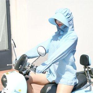 kadınlar Yaz Yeni UV için xXcii 5SVyn ceket güneşten gelen Kore tarzı orta boy ince açık bisiklet Bisiklet koruma Clothes güneşten gelen çizgili