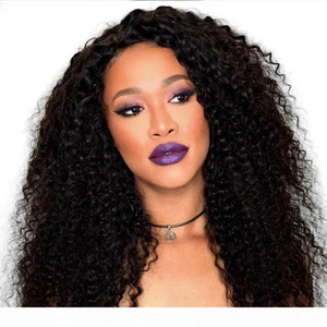 Afro Kinky Curly Human Hair Lace Front Wig 150 Density Mongolian Remy Hair Preplucked Afro Curly Lacefront Wigs For Black Women