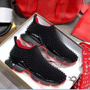 Кружевные Spike Носок Дизайнер Повседневная обувь, красный Sole Квартиры с Krystal Шипы, 30мм черный белый Donna квартира для женщин мужчин Sneaker ac58