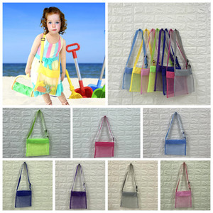 24*25cm Kids Beach Mesh Bag Shell Storage Net Bag Adjustable Straps Tote Toy Mesh Handbag Outdoor Designers bags 8 Colors w-00268