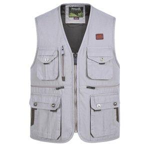 الأزياء سترات للرجال رجالية متعدد جيب التصوير الصدرية الرجال مراسل عارضة مدير