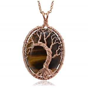 10 Pcs Oval Shape Tiger Eye Stone Necklace Amethyst Crystal Pendant Link Chain Rose Gold Plated Jewelry