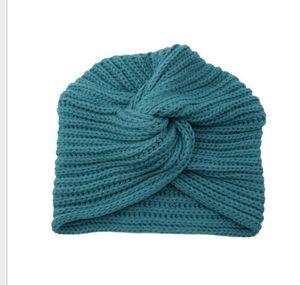 Quente de Inverno Cap malha Turban Cruz Mulheres Winter Knit Turban Cruz Torça cabelo do envoltório Sólidos Casual indianos Crochet Skullies Gorros Chapéus