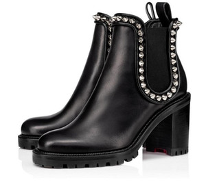 Mode hiver Capahutta Boot Spikes Femmes Bottines Lug Sole Red Bottom Bottes Talons Booty bout rond en cuir noir Lady bottillons