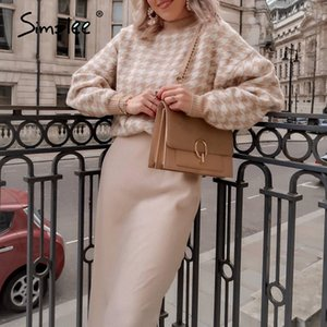 Simplee Women geometric khaki knitted sweater women casual Houndstooth lady pullover sweater female Autumn winter retro jumper 200921