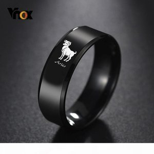Vnox 12 Horoscope Noir inoxydable Anneaux Gravé en acier pour hommes 8 mm Classique Homme Wedding Band Douze Constellation Alliance