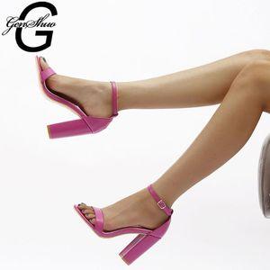 GENSHUO Frauen Sandalen Sommer 2020 Damen Schuhe Frau Fahsion klobigen High Heels Knöchelriemen Rom Sandalen Mujer für Partei-Kleid