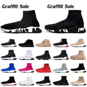 Grafiti Sole Lüks Tasarımcı Kadın Erkek Hız Çorap Ayakkabı Siyah Beyaz Trialler Étoile Vintage Clearsole Lace Up Çorap Eğitmenler Düz Sneakers