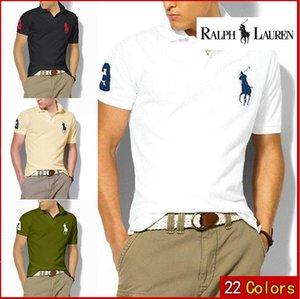 Brasão New Men Verão Collar Shirt Men Roupa sólido Mens Polo EUA bandeira americana Marca Polos Homens de manga curta Esporte Polo ManRalph