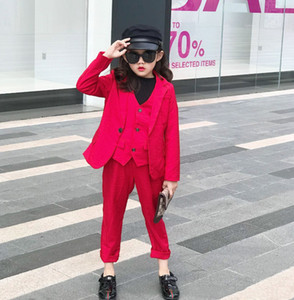 Autumn new children suits 2020 preppy style Boys Girls red long sleeve suit outwear+waistcoat +pants 3pcs kids Christmas sets A4068