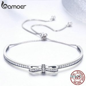 Hot Sale BAMOER High Quality 925 Sterling Silver Bowknot Clear Cubic Zircon Bangles Bracelets for Women Sterling Silver Jewelry