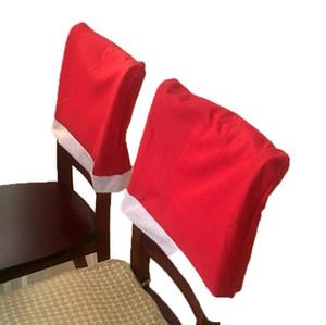 Merry Xmas крышки стул красного цвета обеденного стола шапка Сант-Клаус Covers моды Рождество Председатель Xmas Главную партию подарки украшение LSK1030