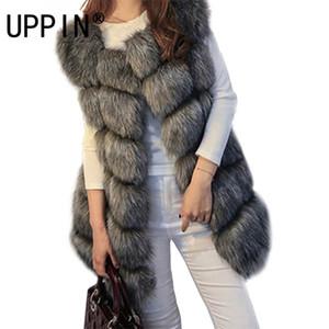UPPIN S-4XL Mujer Chaleco caliente 2017 Nueva capa del invierno Faux Fox chaleco de las mujeres de alto grado del O-cuello largo de piel Cardigan Y200926