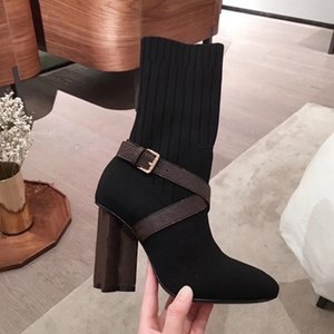 Women Silhouette Ankle Boot Martin Boots High heels Winter Warn Botas Stretch Fabric Bootie Print Flower Heel Ladies Casual Shoes with box