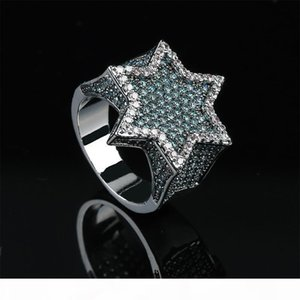 18K Gold White Gold Plated Mens Franklin Mint Green Iced Out CZ Cubic Zirconia Hexagonal Star Finger Ring Band Luxury HipHop Rapper Jewelry