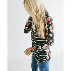 New autumn Fashion Women ladies Floral print Striped patchwork Hoodie sweatshirts long sleeve hooded pulovers sweatshirts tops