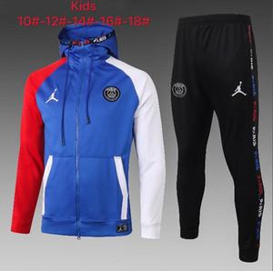 Париж дети Tracksuit набор мальчиков малышей обувь одежда футбол спортивный костюм Дети 20 21 футбольным Kits футбол подготовки Джерси костюм футбол Hoodie A2136