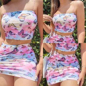 Colorful Butterfly Print Sexy Outfit 2 Piece Matching Sets Women Party Clubwear Crop Tops and Mini Skirt Set