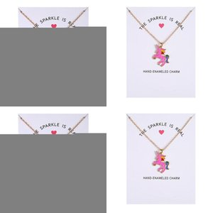 No Logo Pendant Glaze Gift New Arrived Real Fashion Animal Horse Unicorn Clavicle The Sparkled Dogeared Jewelry Color Is Necklace Go iOUowl