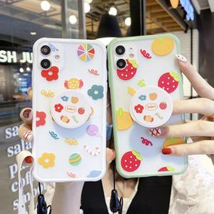 Nette Frucht Stand Halter Lanyard Telefon-Kasten für iPhone SE 11Pro MAX 7 8Plus XR XS Max Strawberry Flower Soft Schultergurt Abdeckung