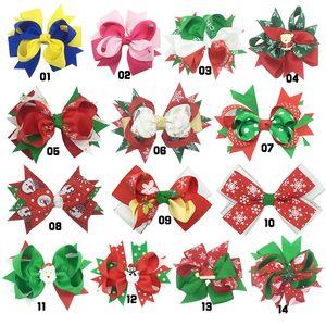 Clips de la cinta grosgrain hairbows de los arcos del pelo de Navidad Cabeza Piezas hairbows Estilos de pelo de las niñas Boutique Clip Headware niños Accesorios para el cabello