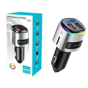 U 디스크 / TF 카드 음악 플레이어 무선 수신기 핸즈프리 전화 USB QC3.0 자동차 충전기 송신기 BC41 자동차 MP3 플레이어 블루투스 FM