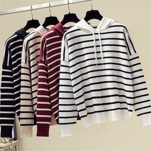 Outono Inverno 2019 Striped Sweater Mulheres Long Sleeve Casual com capuz de malha Lazer camisola do pulôver Harajuku Cashmere Jumper Top 4A1R #