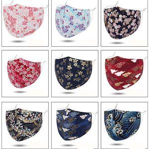 Stampa del fiore della maschera di protezione contro il vento freddo della polvere di lusso della maschera di stoffa riutilizzabile maschera bocca 18 colori in DHC1395 disponibili