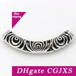 Hot! 20pcs tibetana de prata liga de zinco oco tubo curvo Spacer Beads 14x52 0,5 milímetros Fit Colar DIY acessórios