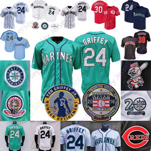 Ken Griffey Jr Jr. Jersey 2016 Hall Of Fame 1995 chandails 1995 Vintage vert Teel Noir Pinstripe Tous Cousu Taille M-3XL