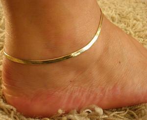 Chapado en oro fino Nueva plata / cadena ajustable para el tobillo plana de la serpiente mujeres pulsera simple del pie delicado Playa Cadena joyería del verano Pies