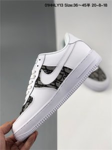 2020 Design Forces Mens Low One Fashion Shoes All White Black Brown Cheap Women Air High Skateboard Shoes Classic AF Fly Sports Sneakers