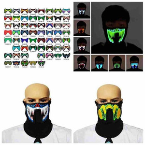 69 Styles EL Mask Flash LED Music Mask With Sound Active for Dancing Riding Skating Party Voice Control Mask Party Halloween Masks FY0063