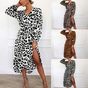 HiloRill Vestido Leopard manga comprida Praia vestido longo Sexy V Neck Lady Midi vestidos elegantes Dividir partido