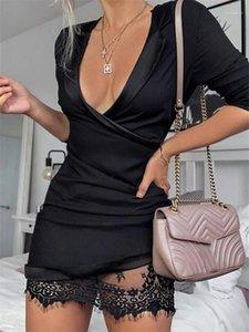 إمرأة مصمم الأزياء سليم كم طويل عادية Desses الهيئة غير الرسمية فستان المرأة الرباط المرقعة V الرقبة الملابس