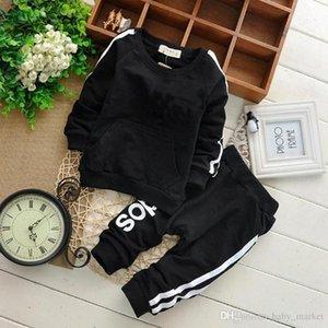 Marka Bebek Boys Kız Giyim Sonbahar Casual Çocuk Giyim Suits Tişörtü pantolon ayarlar 2 adet Bebek Spor Giyim Suits 1set / 2adet