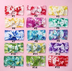 Çocuklar Bow Tie Dye Bantlar Baskılı Kız ilmek hairbands Yumuşak Naylon Elastik Bebek Saç Bandı Kafa Saç Çocuk Aksesuar DHE2085