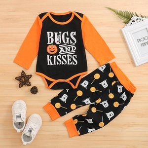 Festival-wear Children Clothes Newborn Infant Winter Baby Girls Boys Halloween Cotton Letter Romper+Cartoon Pants Outfits Set