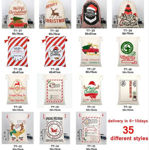 2021 20Pcs DHL Christmas Gift Bags Large Organic Heavy Canvas Bag Santa Sack Drawstring Bag With Reindeers Santa Claus Sack Bags for kids