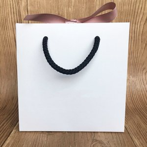 Fashion Paper Bag For Bracelet And Necklace Box Set Women Original Europe Jewelry Bead Charm Pink Ribbon Outer Packaging MX200810